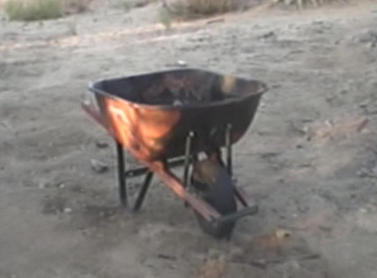 The wheelbarrow where Becky Friedli's body was found